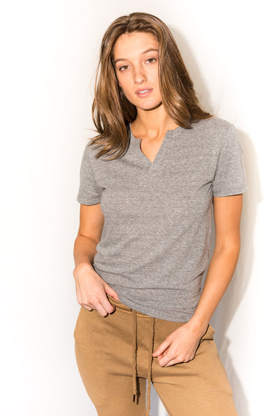 Women's Jersey Cross V-Neck Tee - Light Heather Grey