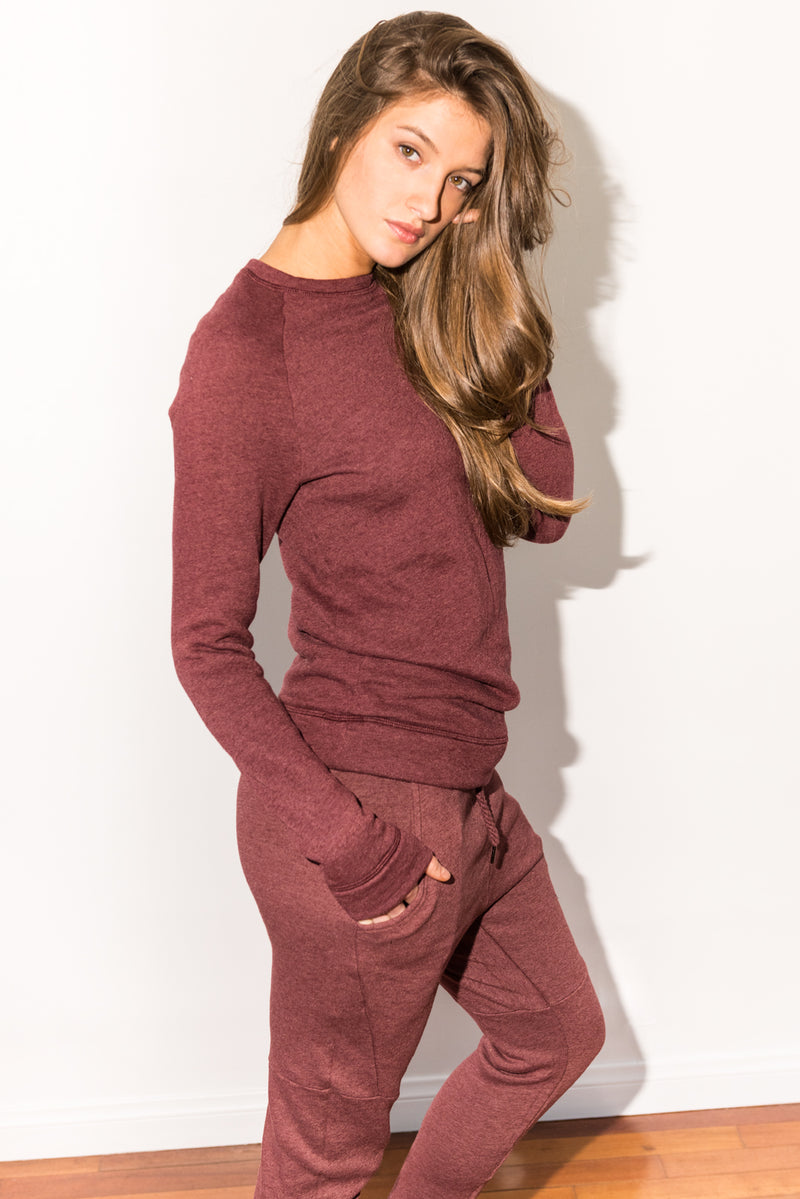 WOMEN'S FRENCH TERRY SLIM FIT PULLOVER SWEATSHIRT - MAROON