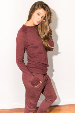 WOMEN'S FRENCH TERRY JOGGER PANT - MAROON