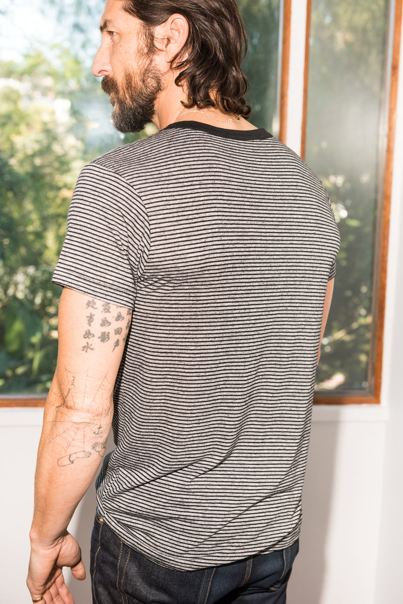 Men's Relaxed Crew Neck Tee - Thin Stripe
