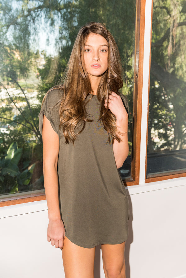 Modal Curved Bottom Tee Dress - Army