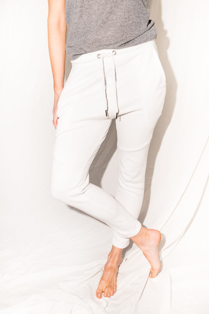 WOMEN'S FRENCH TERRY JOGGER PANT - WHITE