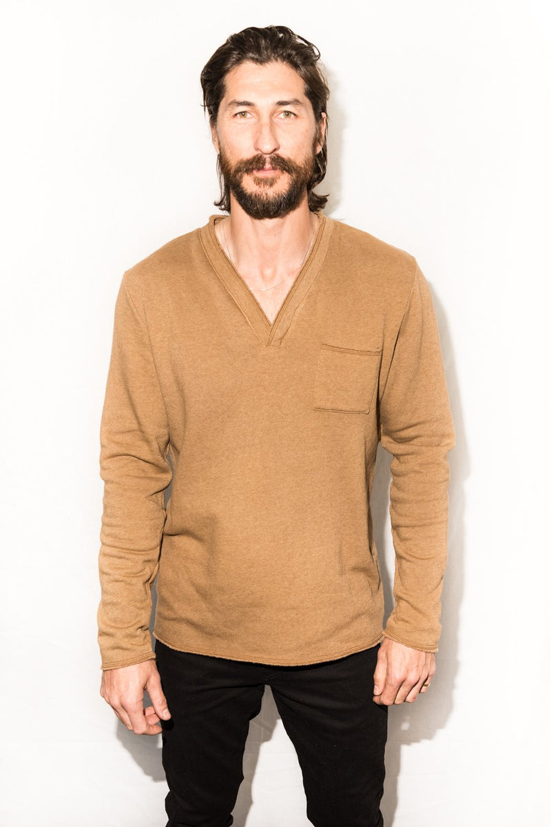 Men's French Terry Raw Neck Pocket Sweater