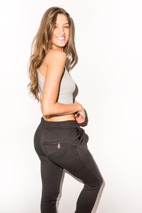 WOMEN'S BACK ZIP SWEATPANT - BLACK