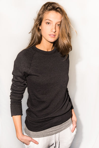 WOMEN'S FRENCH TERRY RELAXED FIT PULLOVER SWEATSHIRT - BLACK