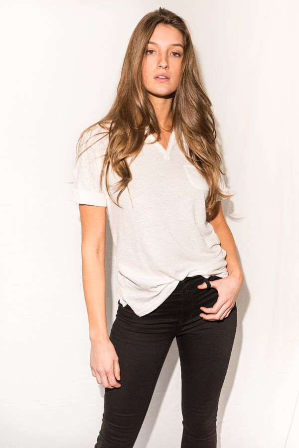 Women's Linen Blend Raw Neck Curved Pocket Tee - White
