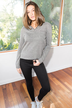 Women's French Terry Raw Neck Pocket Sweater - Heather Grey