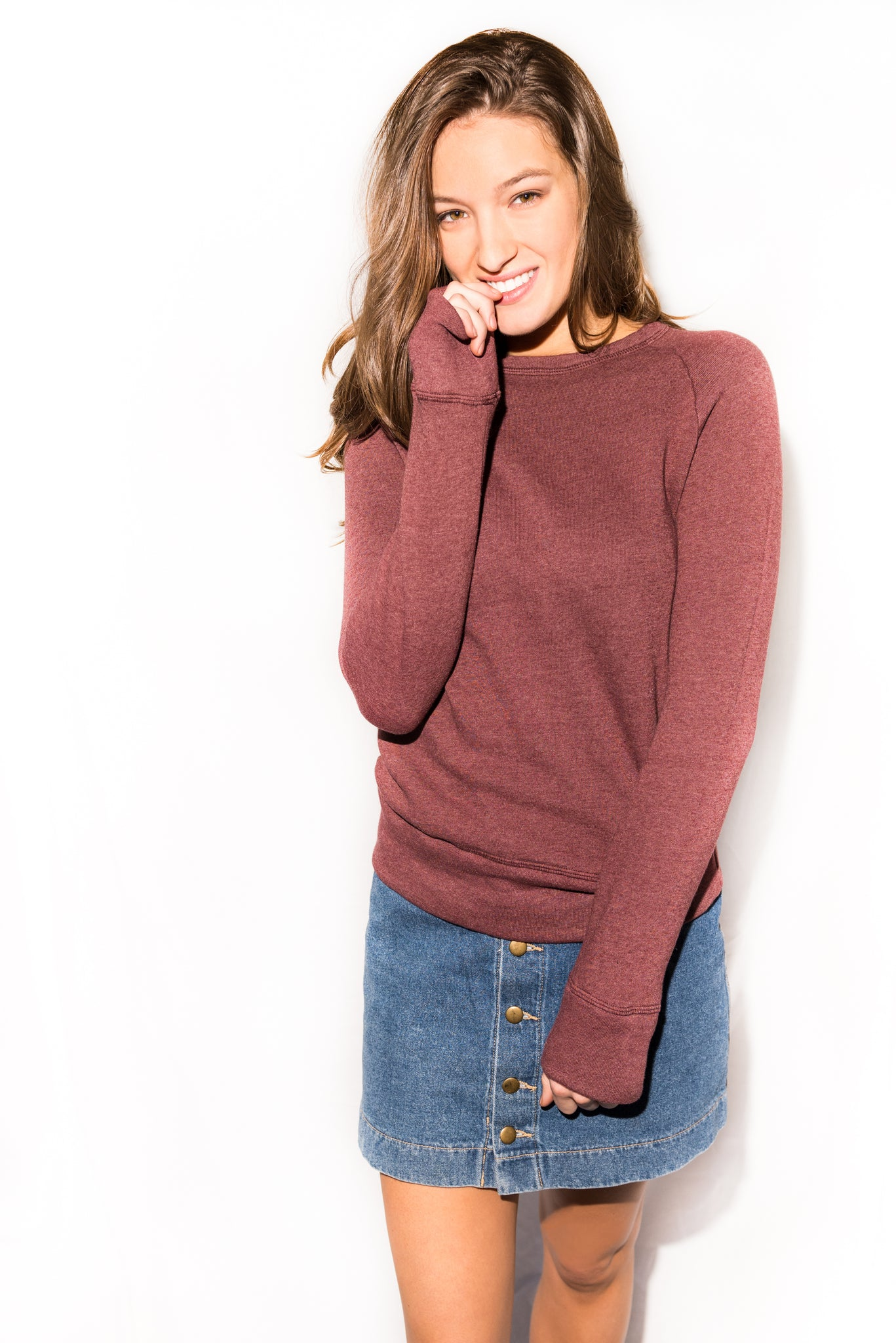 WOMEN'S FRENCH TERRY RELAXED FIT PULLOVER SWEATSHIRT - MAROON