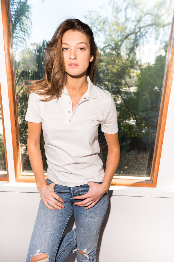 WOMEN'S HEAVY COTTON POLO SHIRT - WHITE