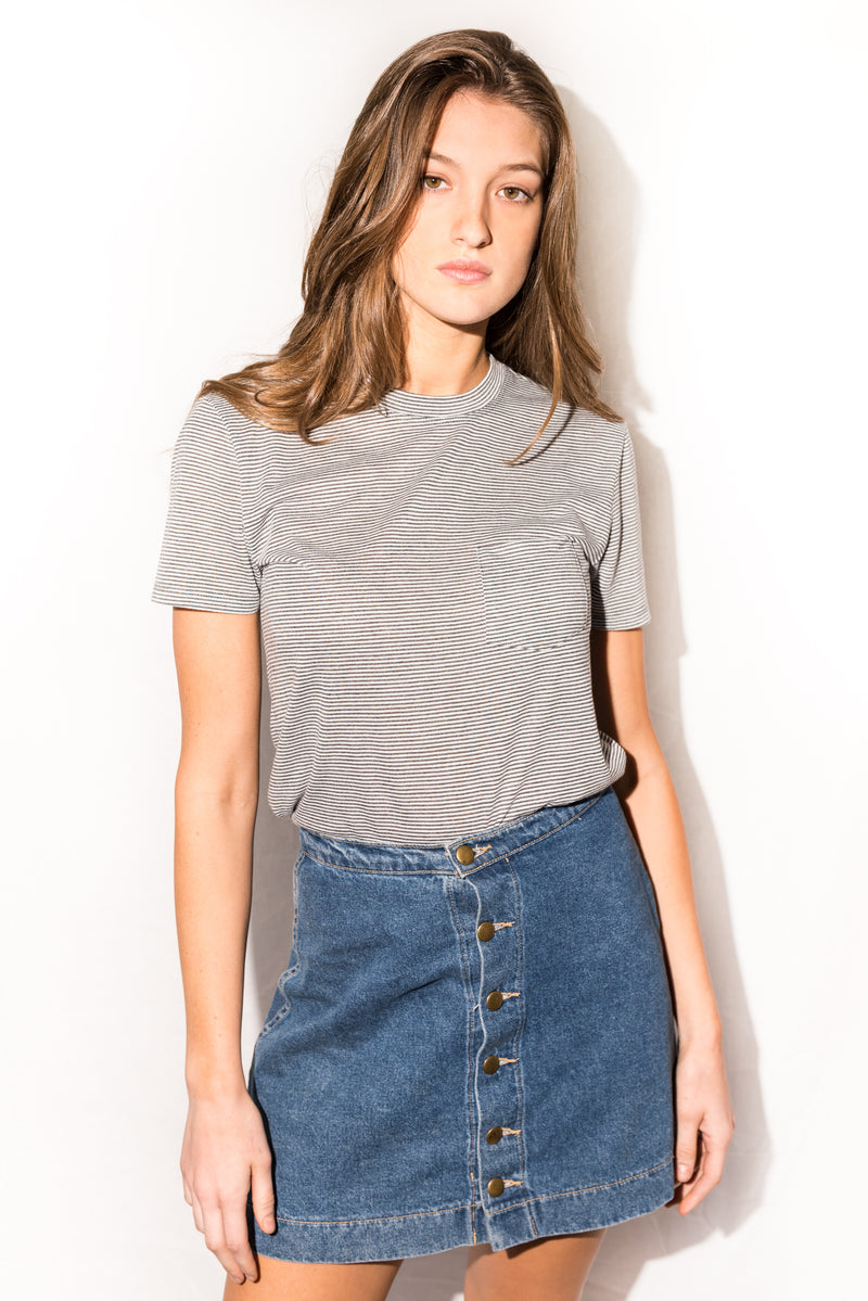 Women's Jersey Crew Neck V-Pocket Tee - Grey White Stripe