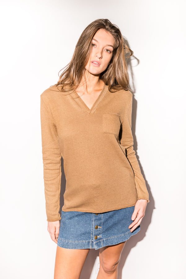 Women's French Terry Raw Neck Pocket Sweater - Camel