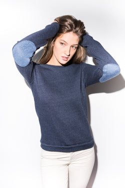 WOMEN'S FRENCH TERRY PATCH SLEEVE SWEATSHIRT - NAVY