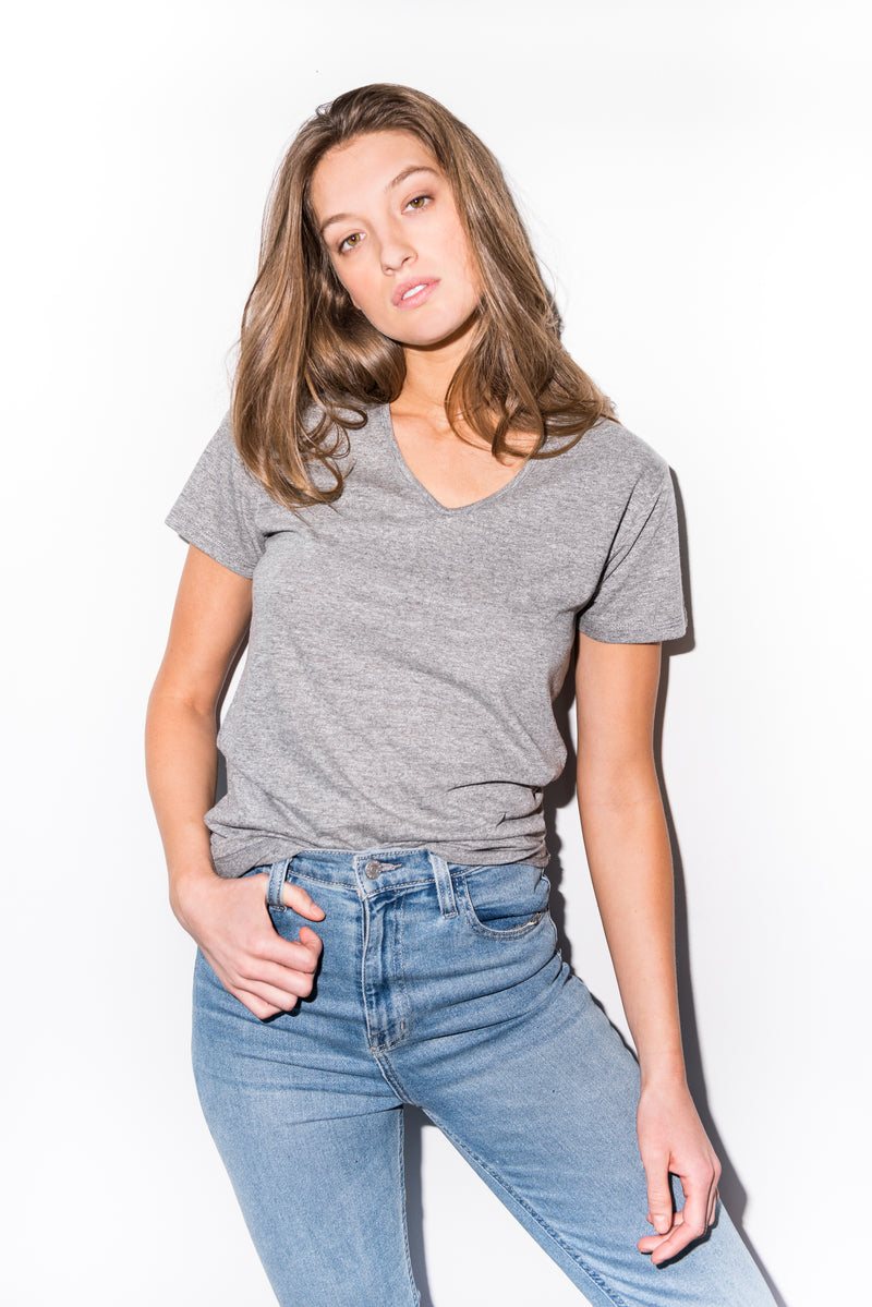WOMEN'S NOVELTY TEXTURE V-NECK - HEATHER SLUB