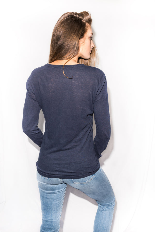Women's Linen Blend Wide Cuff Long Sleeve Tee - Navy