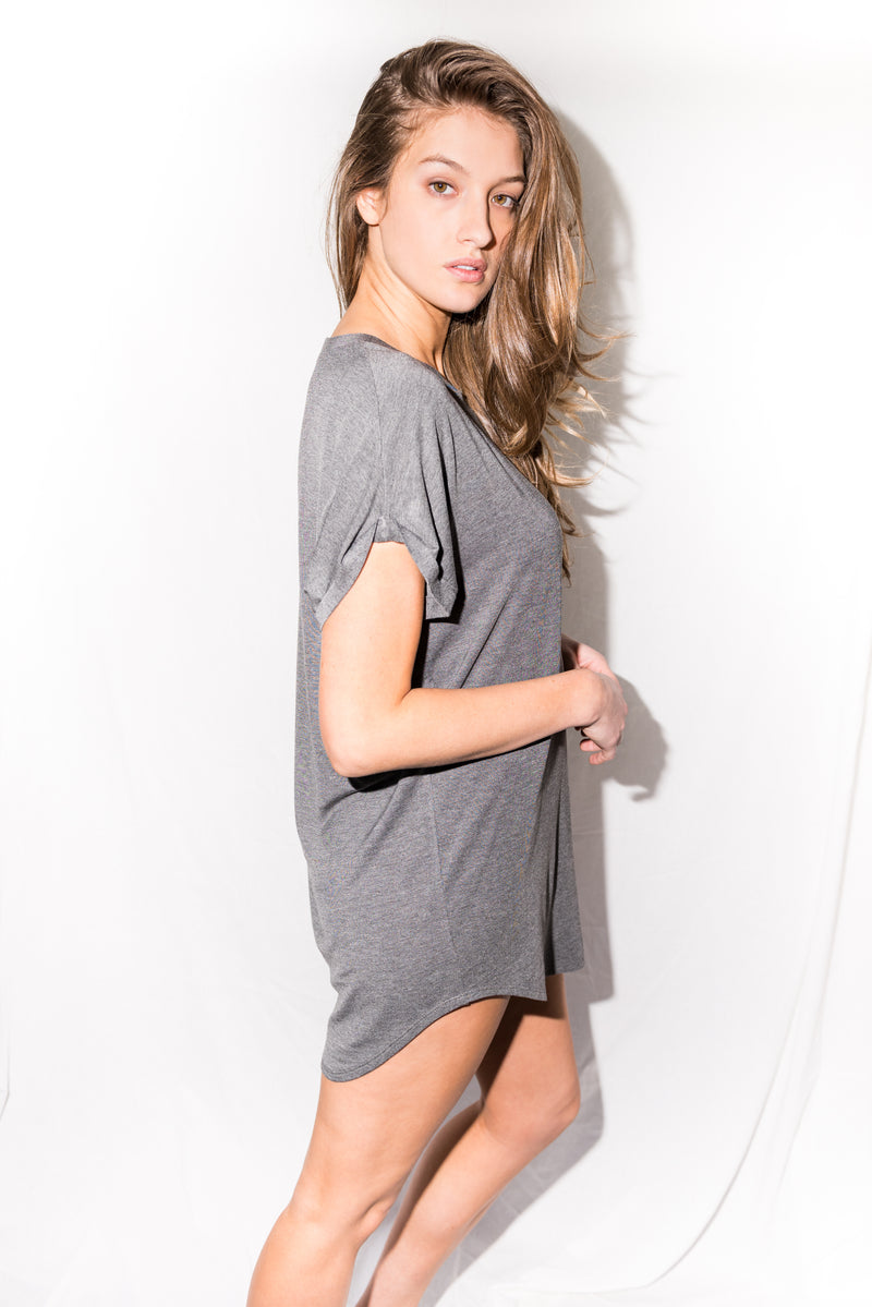 Modal Curved Bottom Tee Dress - Heather Grey