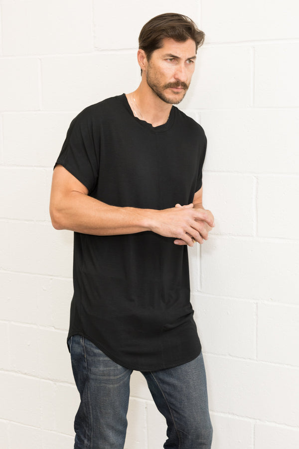 Men's Modal Center Stitch Curved Bottom Crew Neck Tee