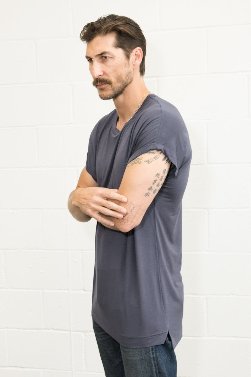 Men's Modal Hi-Lo Crew Neck Tee