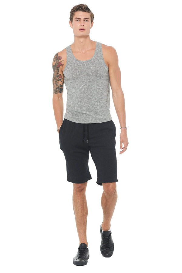 Men's French Terry Cut Off Short with Adjustable Draw Chord