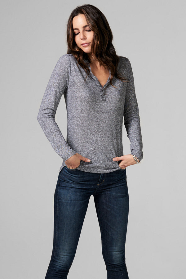 WOMEN'S HENLEY LONG SLEEVE SHIRT - MINI STRIPE