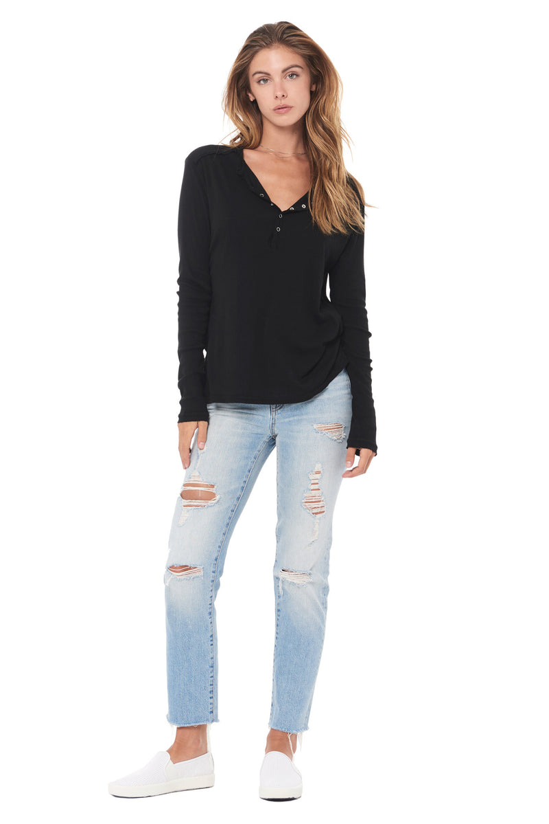 WOMEN'S HENLEY LONG SLEEVE RIB SHIRT - BLACK
