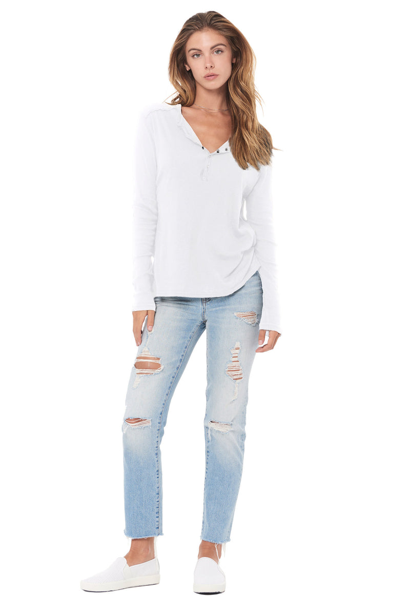 WOMEN'S HENLEY LONG SLEEVE RIB SHIRT - WHITE