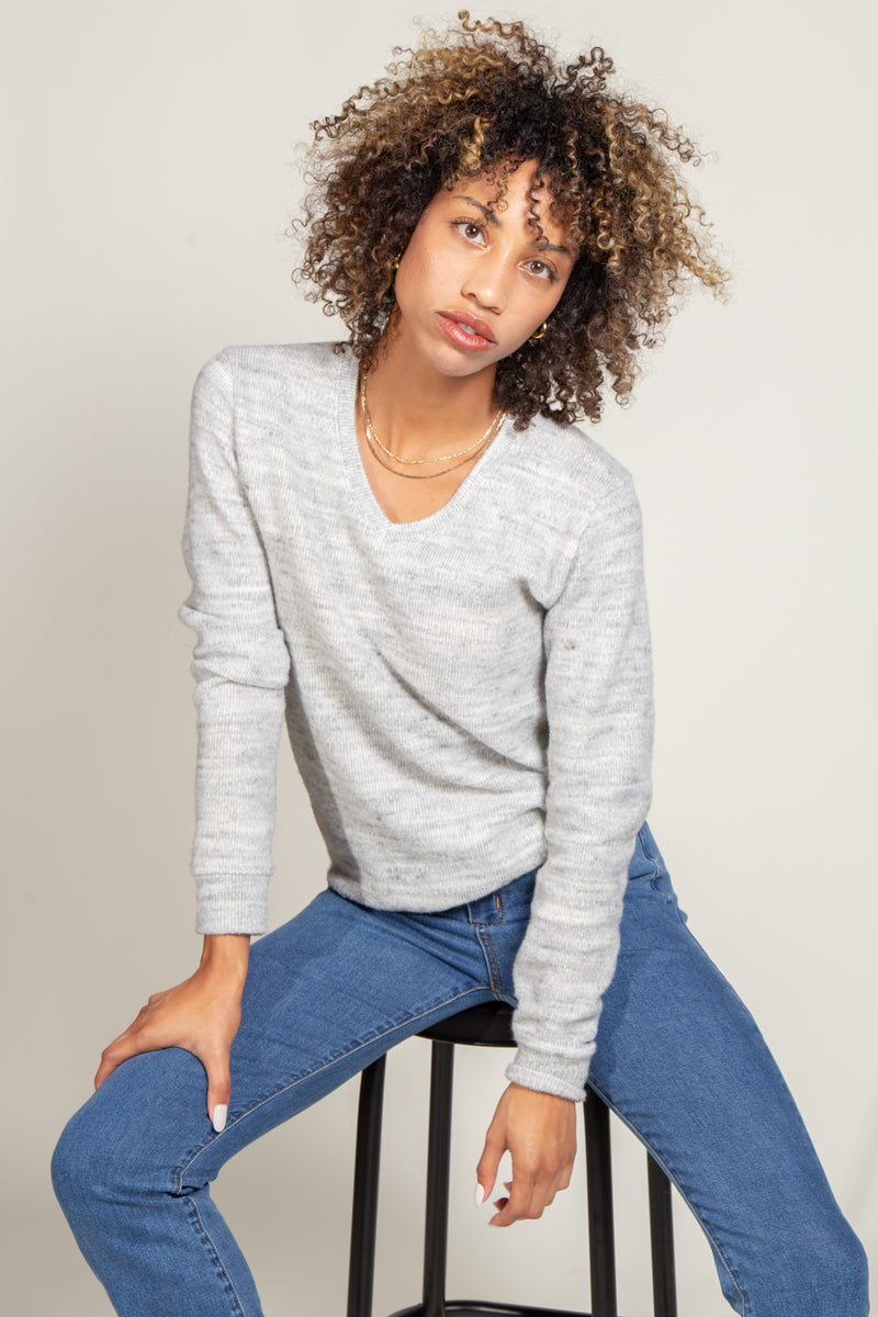 Danielle Soft Knit V-Neck Sweater