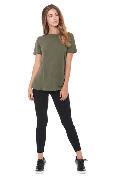 WOMEN'S LINEN BLEND CREW NECK TEE - ARMY