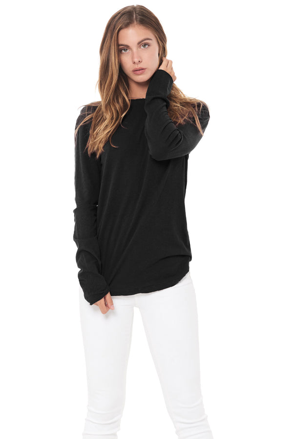 WOMEN'S LINEN BLEND CREW NECK LONG SLEEVE SHIRT - BLACK