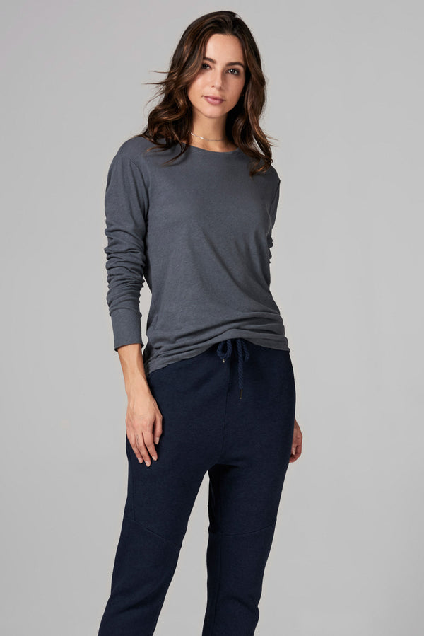 WOMEN'S LINEN BLEND CREW NECK LONG SLEEVE SHIRT - GREY
