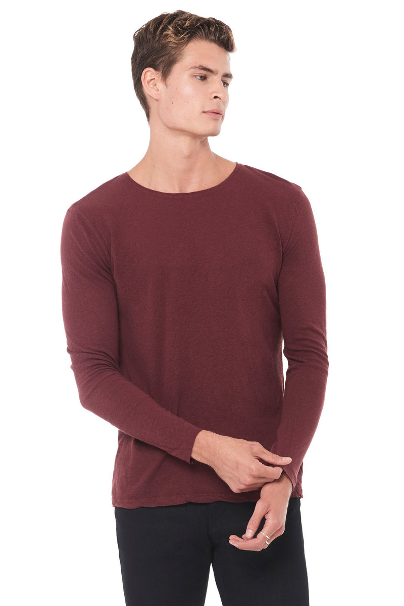 Men's Linen Blend Crew Neck Long Sleeve