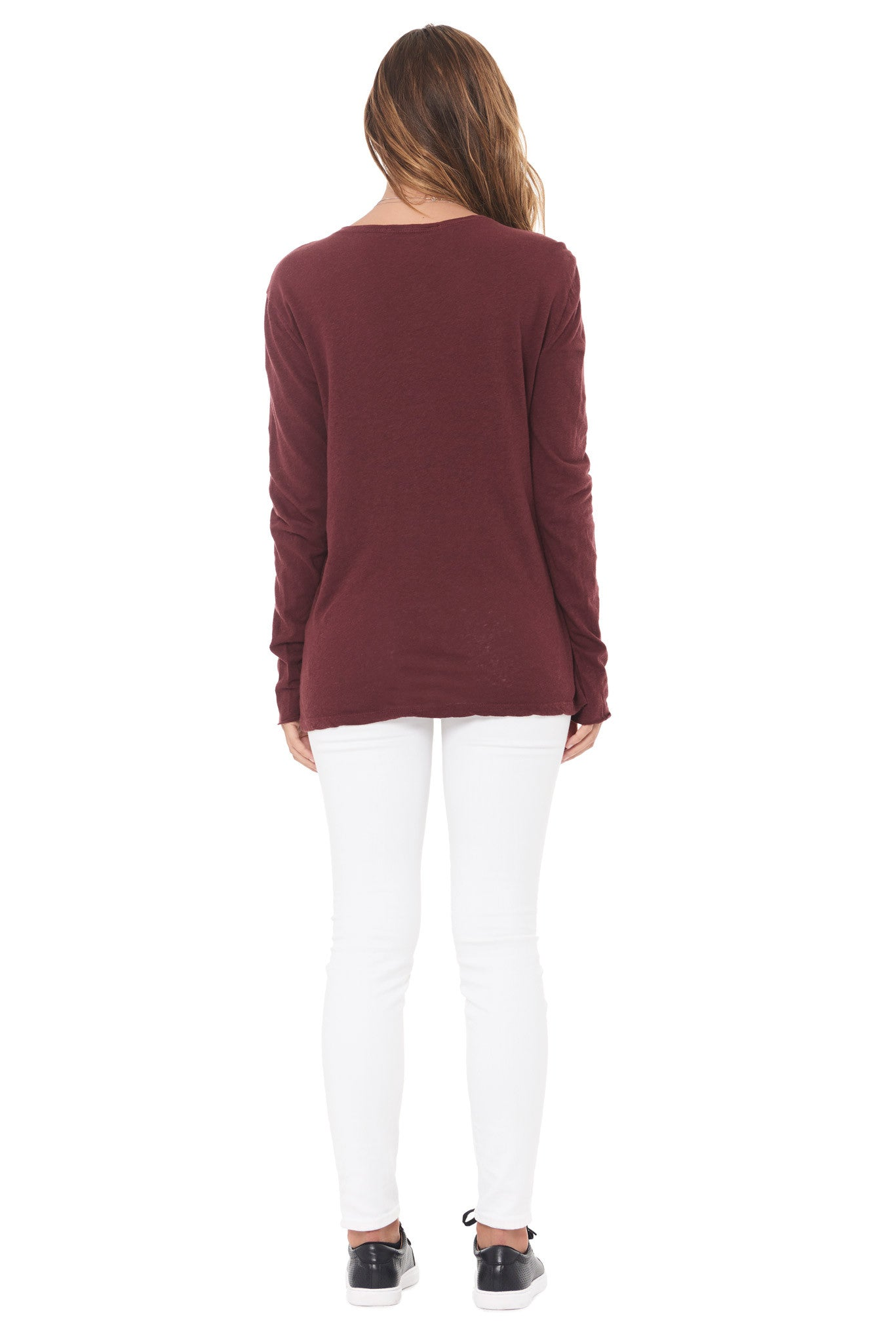 WOMEN'S LINEN BLEND CREW NECK LONG SLEEVE SHIRT - MAROON