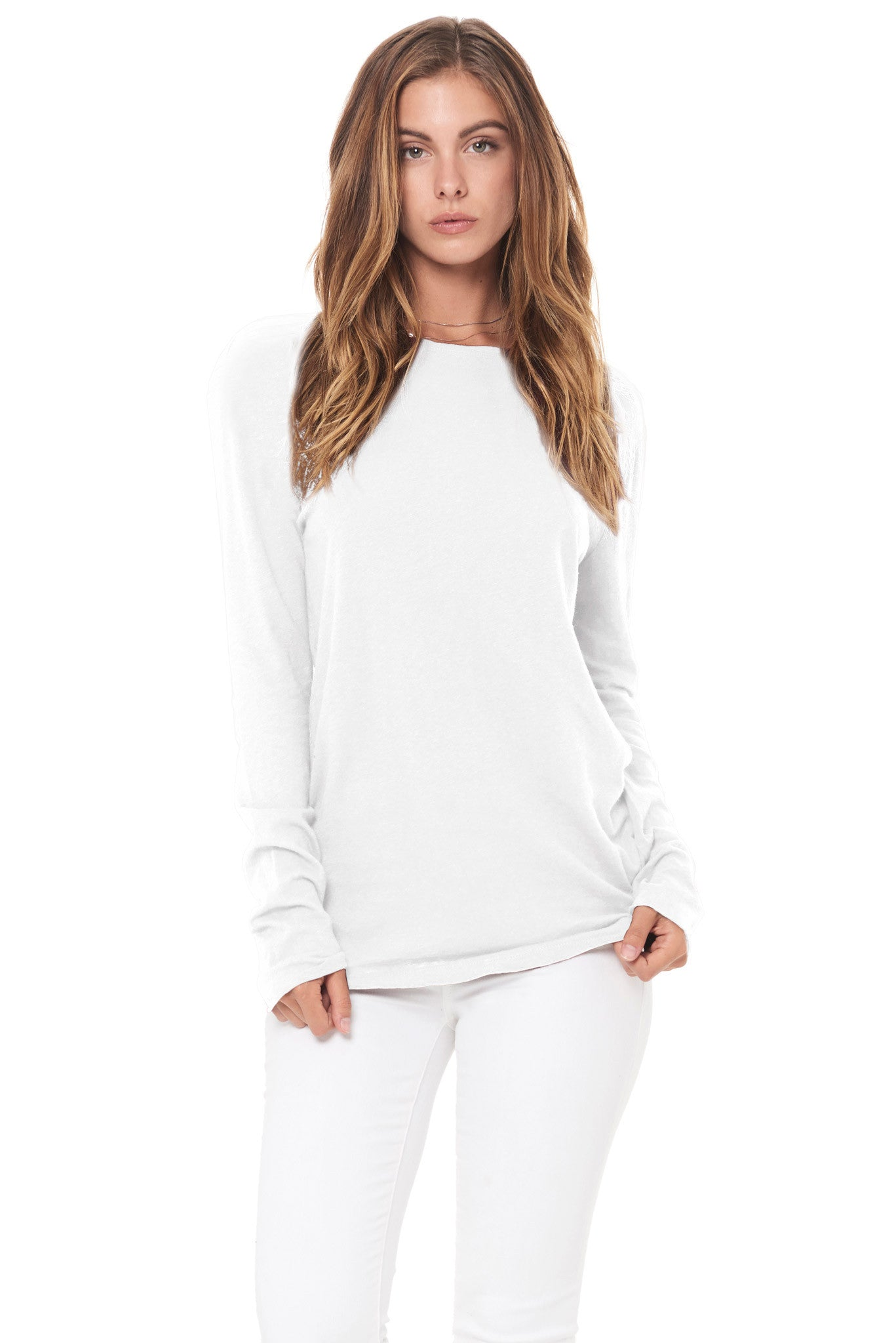 WOMEN'S LINEN BLEND CREW NECK LONG SLEEVE SHIRT - WHITE
