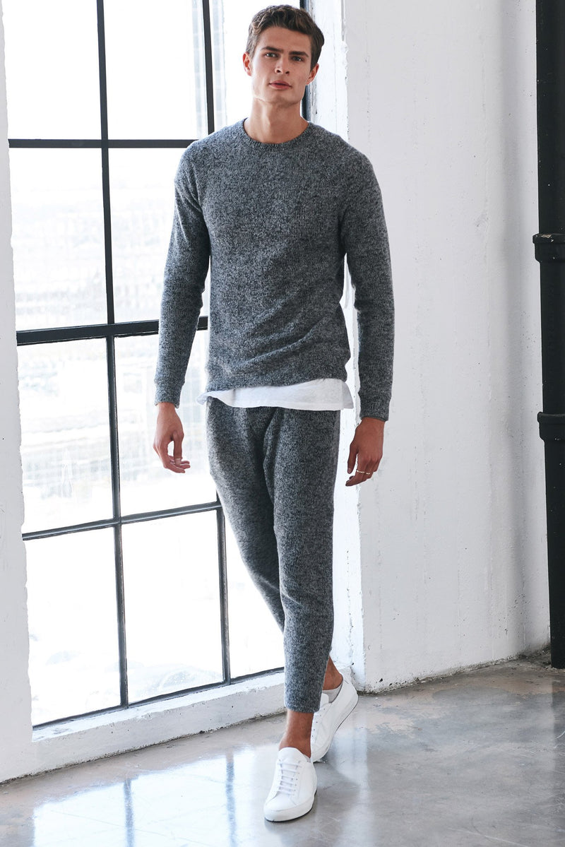 Men's Melange Knit Pullover Sweatshirt