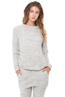 WOMEN'S MELANGE KNIT PULLOVER SWEATSHIRT - HEATHER