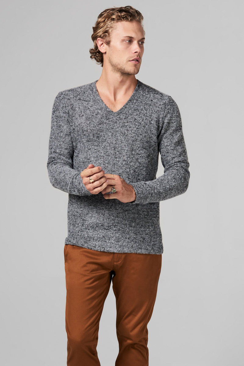 Men's Melange Knit V-Neck Pullover Sweatshirt