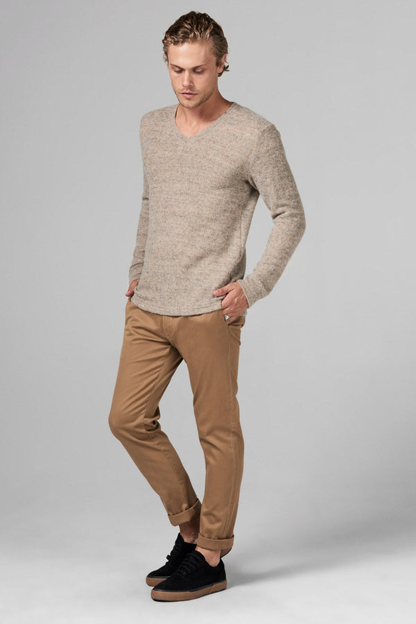 Men's Soft Knit Melange V-Neck Sweater