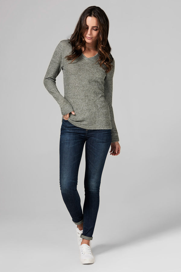 WOMEN'S MELANGE KNIT V-NECK PULLOVER SWEATSHIRT - ARMY