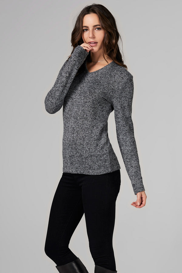 WOMEN'S MELANGE KNIT V-NECK PULLOVER SWEATSHIRT - BLACK