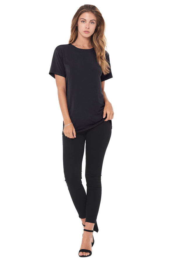 WOMEN'S MODAL CREW NECK TEE - BLACK