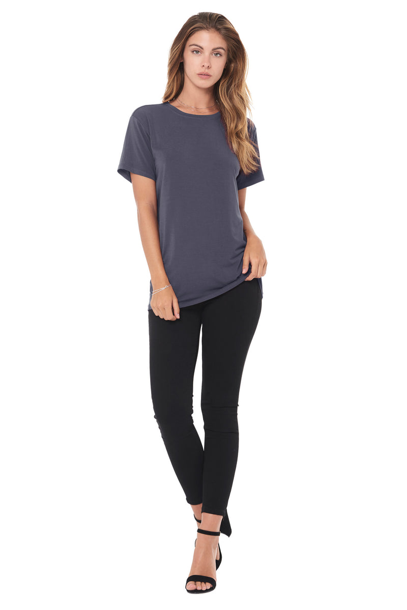 WOMEN'S MODAL CREW NECK TEE - GRAPHITE