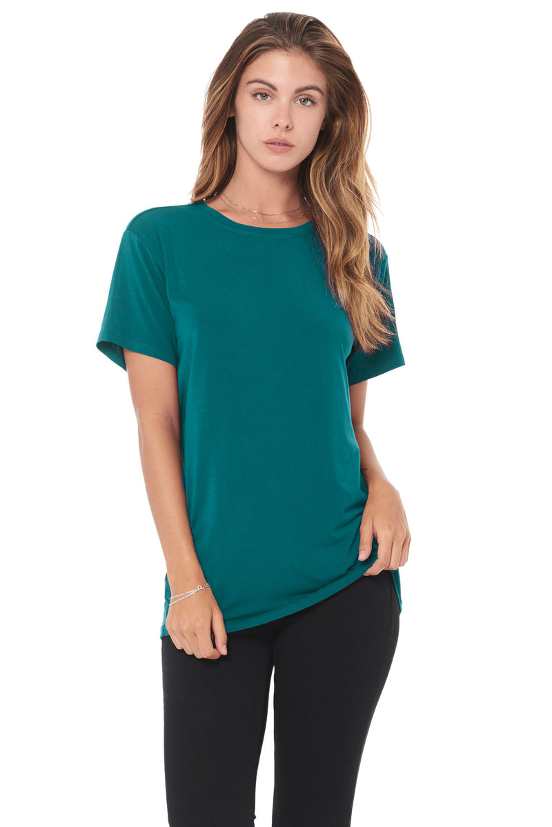 WOMEN'S MODAL CREW NECK TEE - TEAL