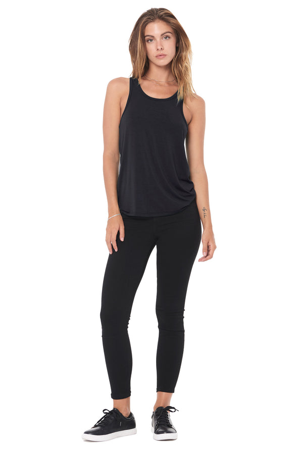 WOMEN'S MODAL SCOOP NECK TANK TOP - BLACK
