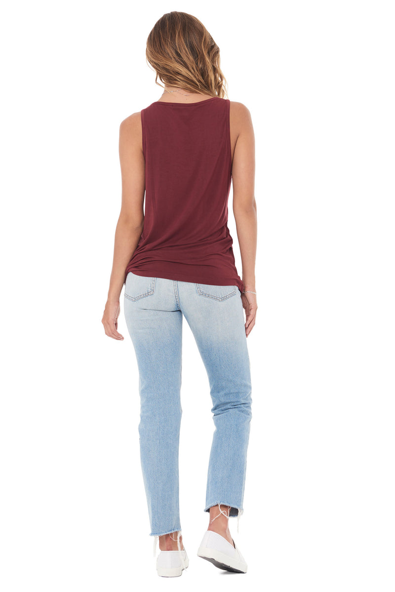 WOMEN'S MODAL SCOOP NECK TANK TOP - MAROON