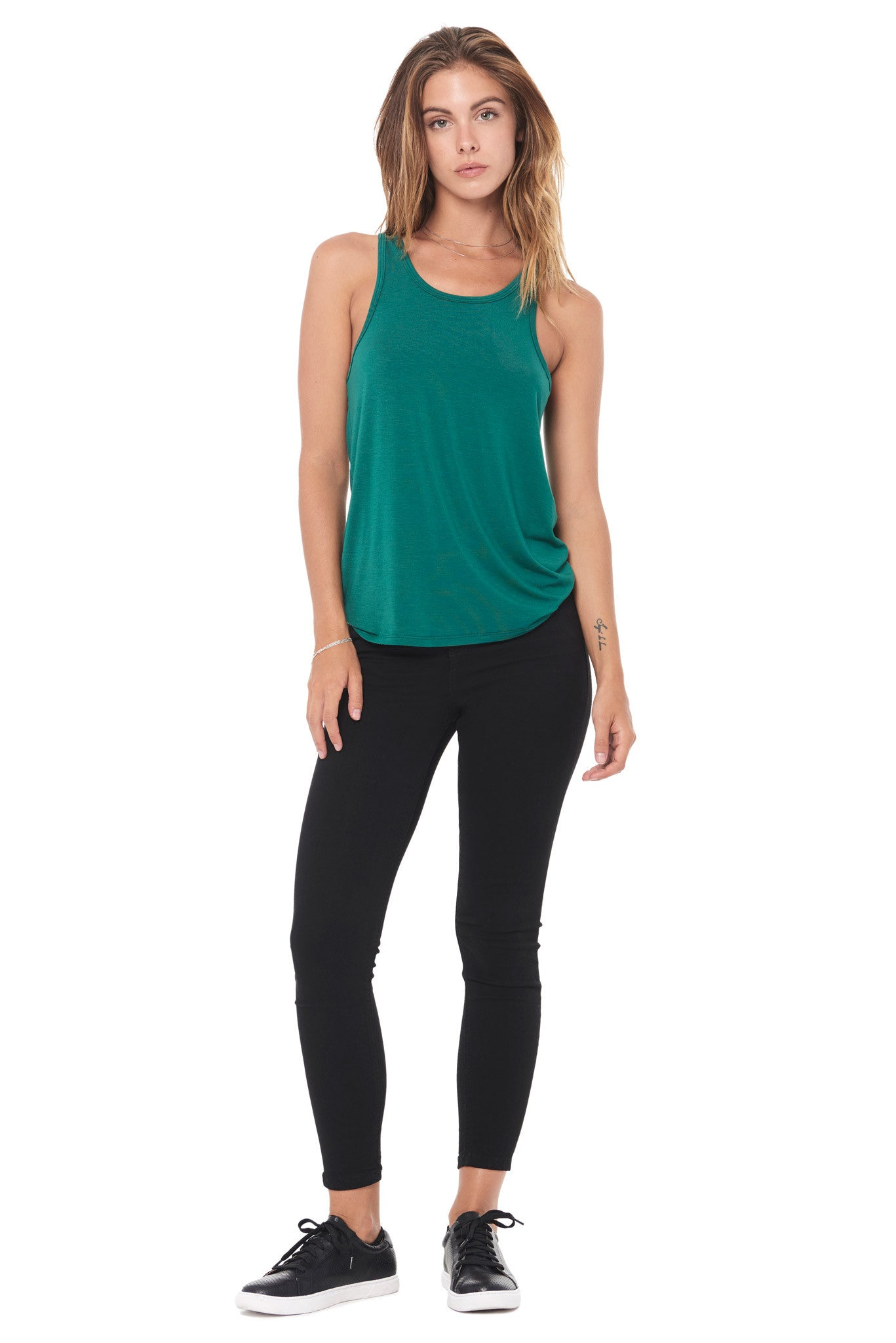 WOMEN'S MODAL SCOOP NECK TANK TOP - TEAL