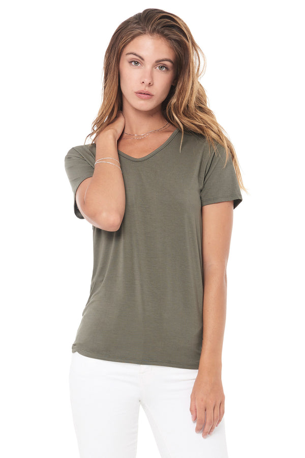 WOMEN'S MODAL V-NECK TEE - ARMY