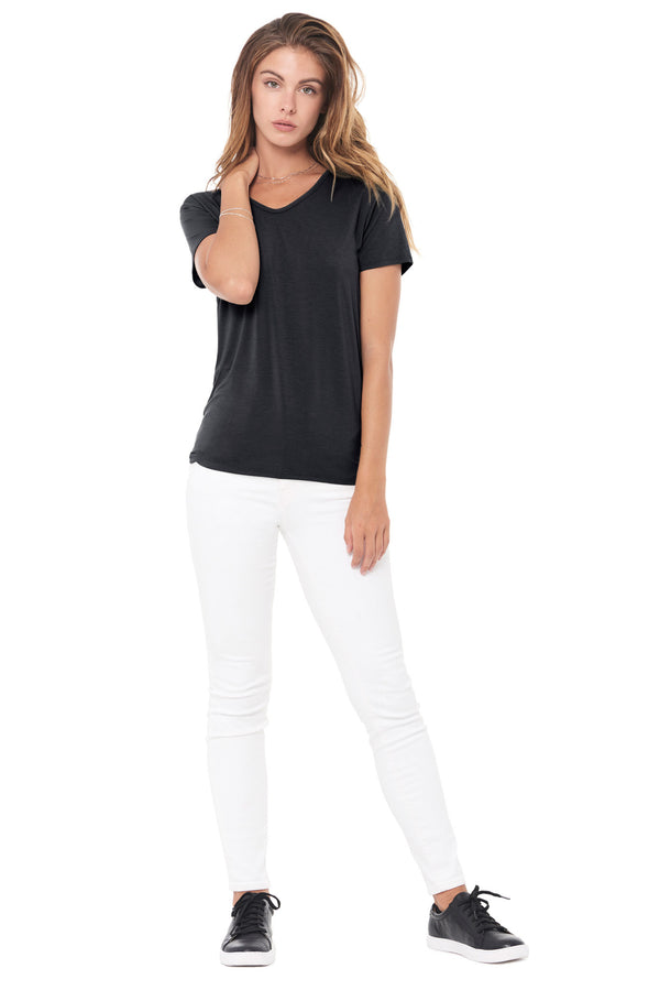 WOMEN'S MODAL V-NECK TEE - BLACK