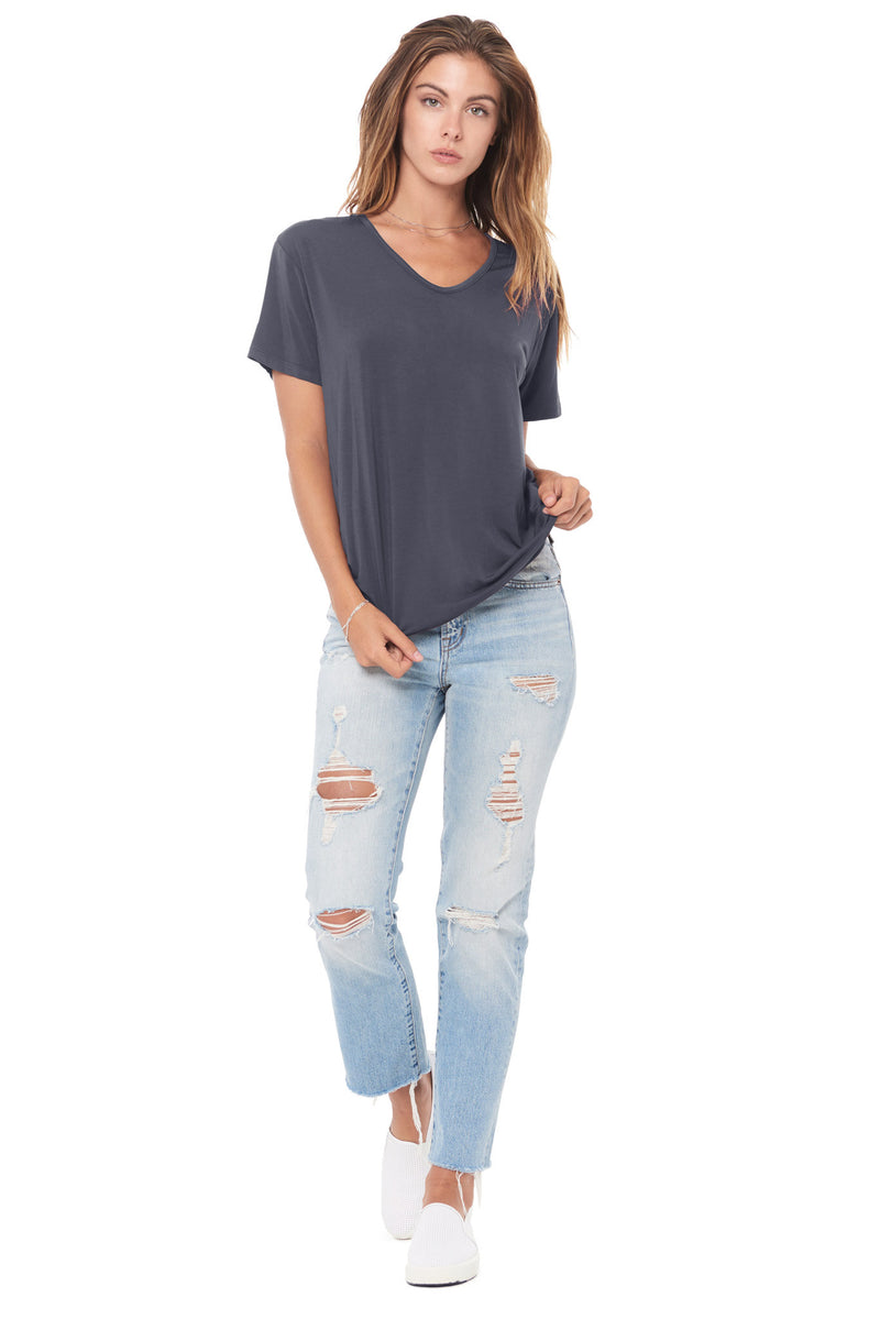 WOMEN'S MODAL V-NECK TEE - GRAPHITE