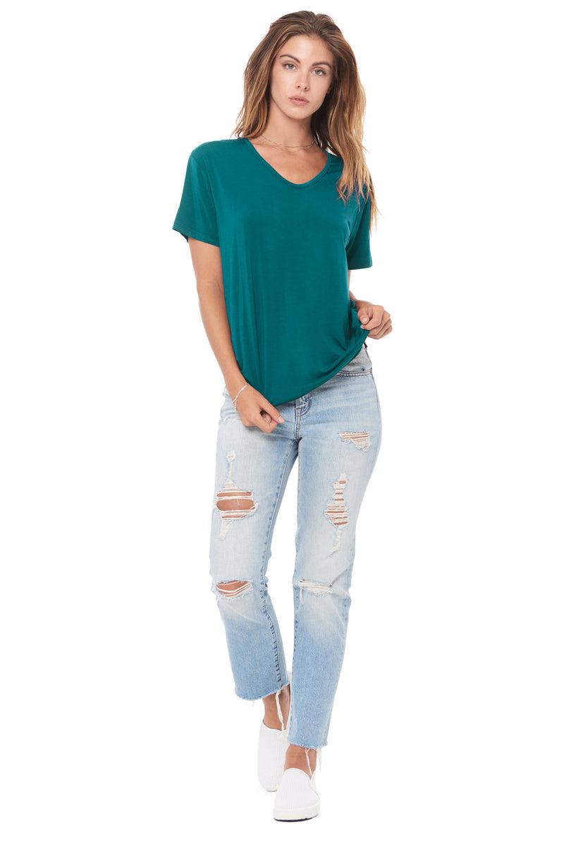 WOMEN'S MODAL V-NECK TEE - TEAL
