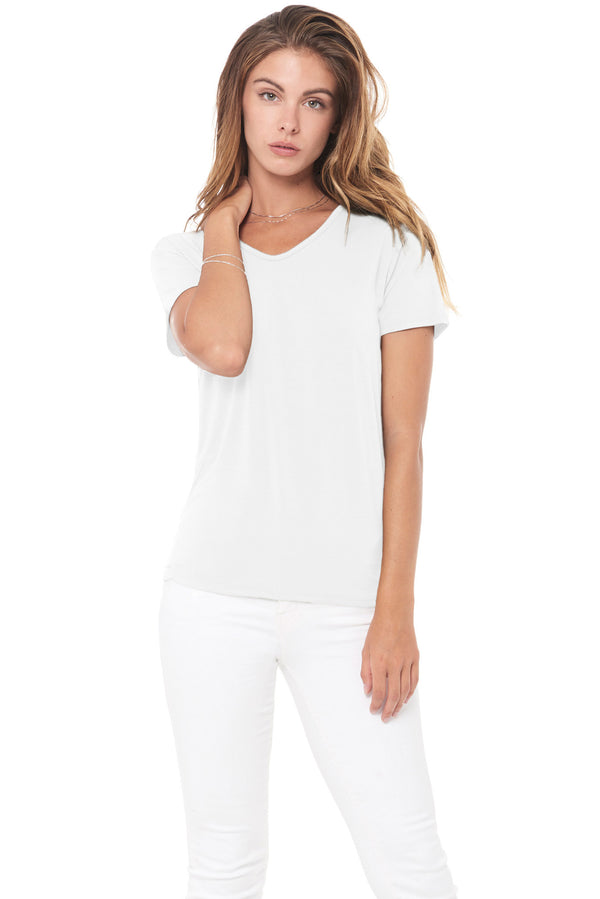 WOMEN'S MODAL V-NECK TEE - WHITE