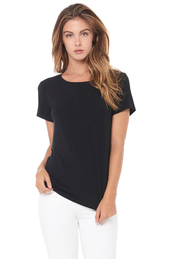 WOMEN'S MODAL WIDE NECK TEE - BLACK